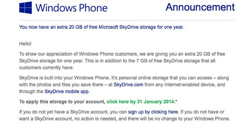 Windows Phone users get free 20GB of extra SkyDrive storage