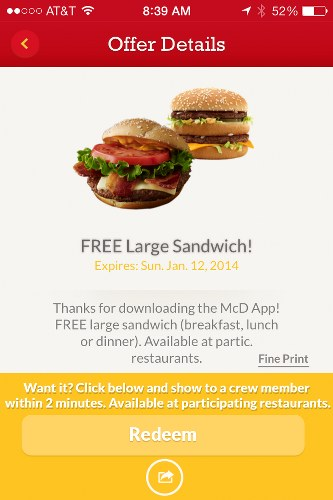 McDonald's app McD informs users about special deals