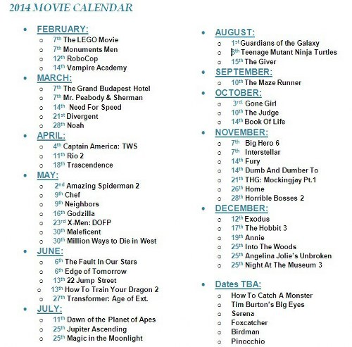 Movie calendar 2014